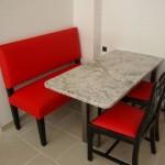 cuisine rouge et marbre